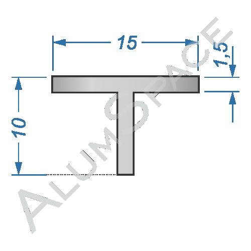 Алюминиевый тавр 15х10х1,5 Анод