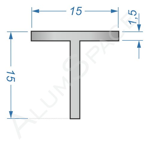 Алюминиевый тавр 15х15х1,5 Анод