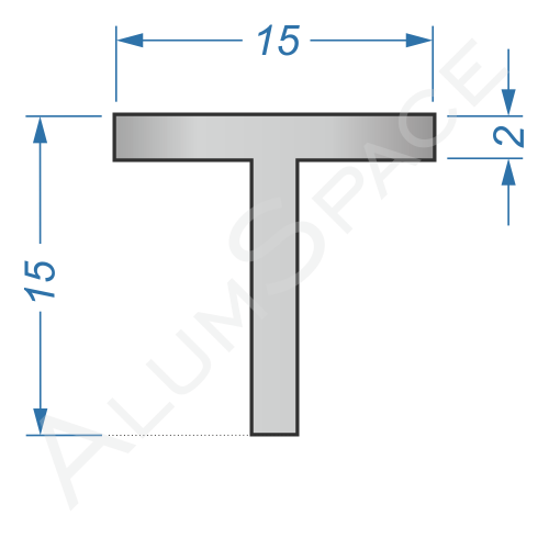 Алюминиевый тавр 15х15х2