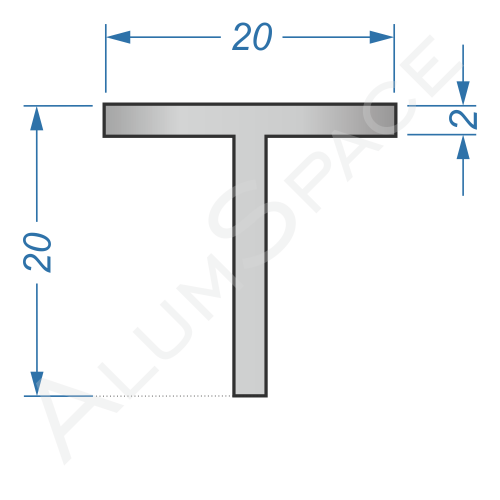 Алюминиевый тавр 20х20х2 Анод