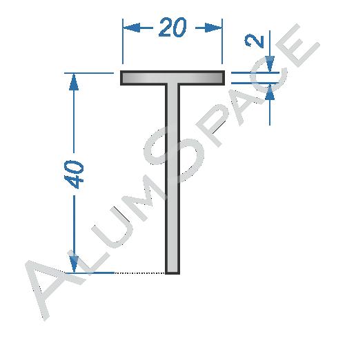 Алюминиевый тавр 20х40х2