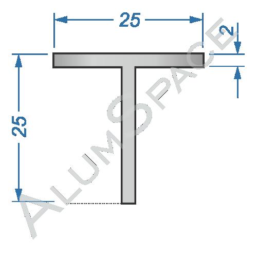 Алюминиевый тавр 25х25х2