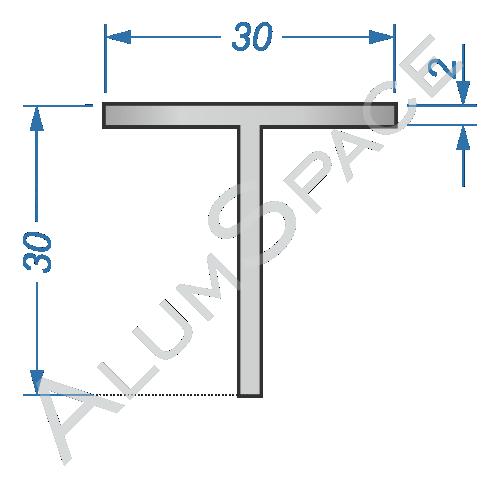 Алюминиевый тавр 30х30х2 Анод
