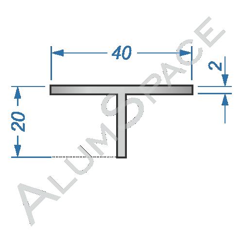 Алюминиевый тавр 40х20х2 Анод
