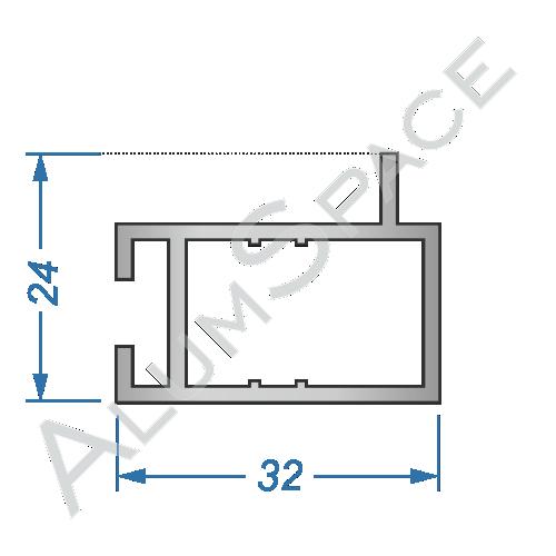 Алюминиевый торговый профиль глухой 32х24 Анод