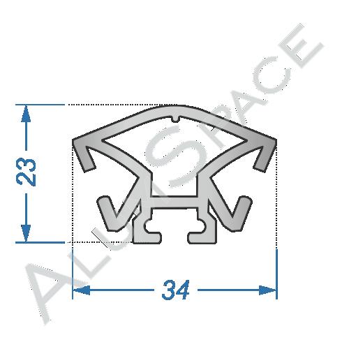 Алюминиевый торговый профиль вертикальный 23х34 Анод