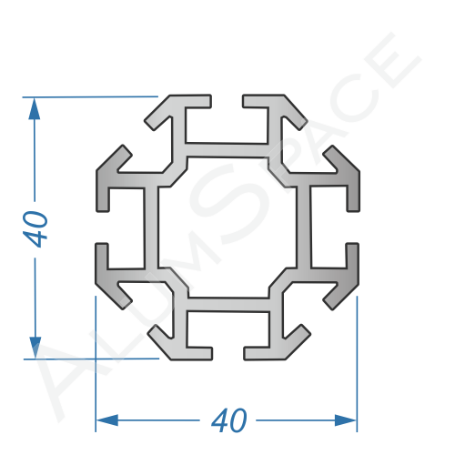 Алюминиевый торговый профиль вертикальный 40х40 Анод