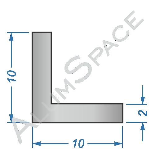Алюминиевый уголок равносторонний 10х10х2