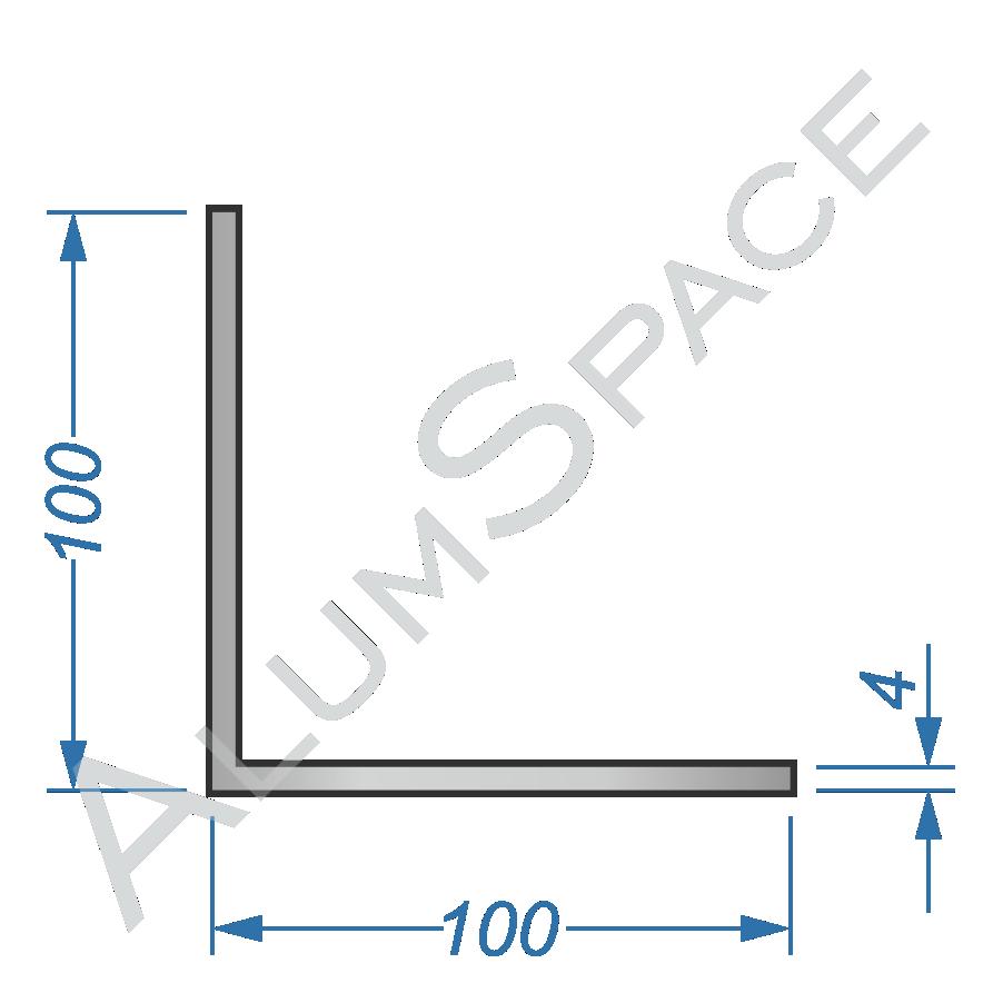 Алюминиевый уголок равносторонний 100х100х4