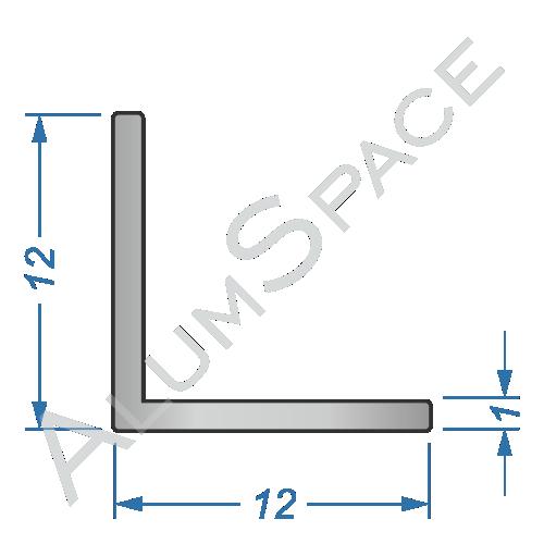 Алюминиевый уголок равносторонний 12х12х1 R2