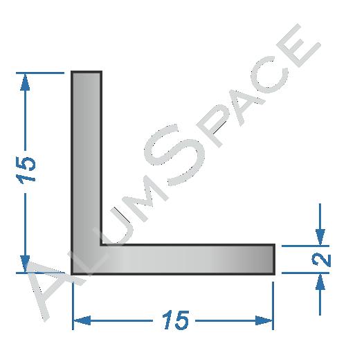 Алюминиевый уголок равносторонний 15х15х2