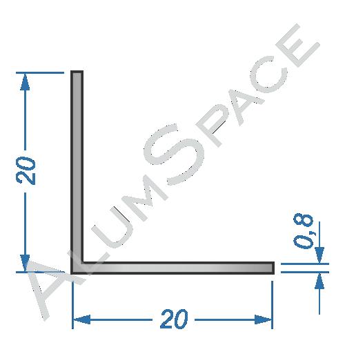 Алюминиевый уголок равносторонний 20х20х0,8 Анод