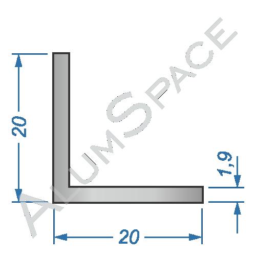 Алюминиевый уголок равносторонний 20х20х1,9 Анод