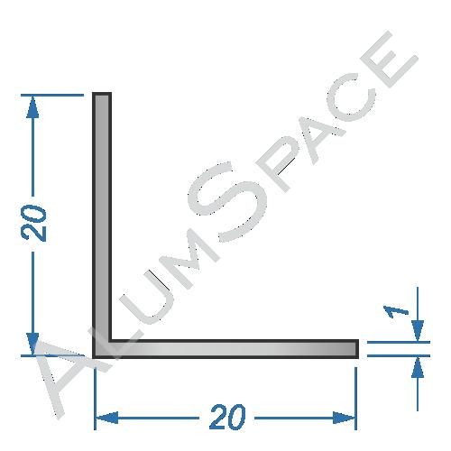 Алюминиевый уголок равносторонний 20х20х1