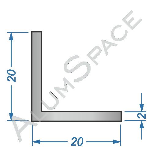 Алюминиевый уголок равносторонний 20х20х2
