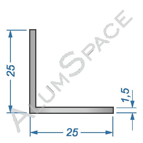 Алюминиевый уголок равносторонний 25х25х1,5
