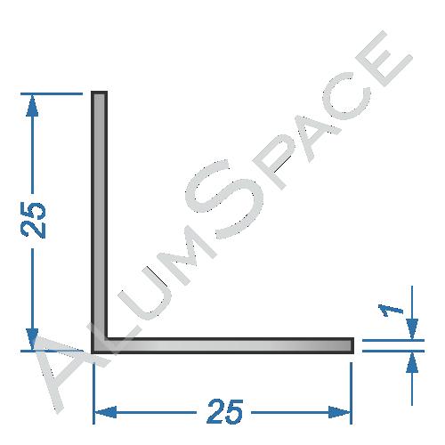 Алюминиевый уголок равносторонний 25х25х1
