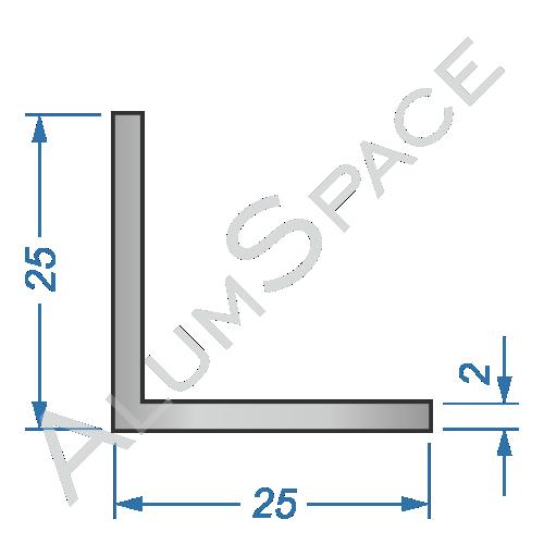 Алюминиевый уголок равносторонний 25х25х2