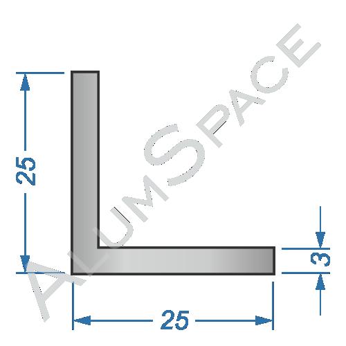 Алюминиевый уголок равносторонний 25х25х3 Анод