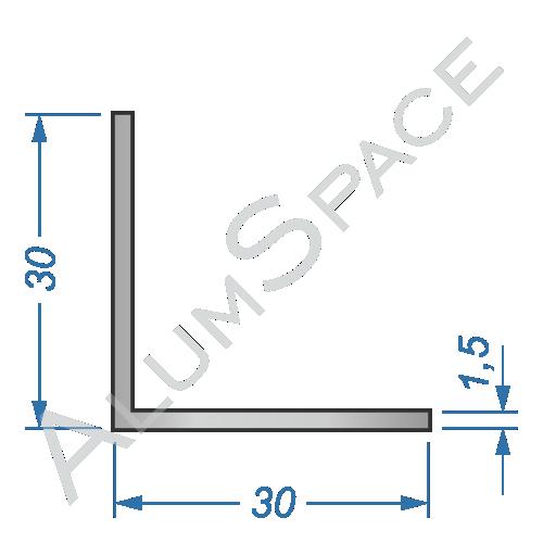 Алюминиевый уголок равносторонний 30х30х1,5