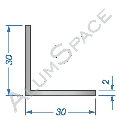 Алюминиевый уголок равносторонний 30х30х2