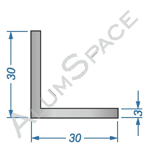 Алюминиевый уголок равносторонний 30х30х3