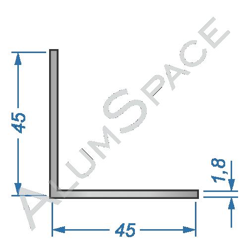 Алюминиевый уголок равносторонний 45х45х1,8