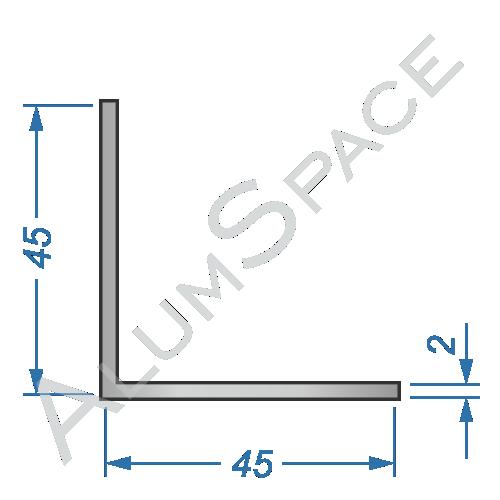 Алюминиевый уголок равносторонний 45х45х2