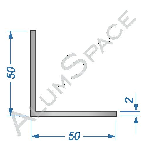 Алюминиевый уголок равносторонний 50х50х2