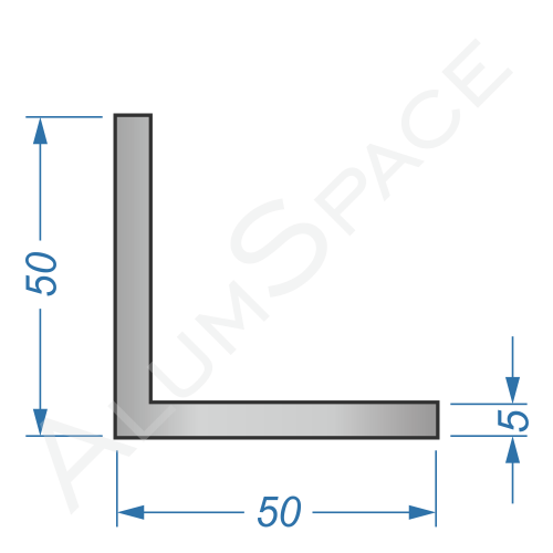 Алюминиевый уголок равносторонний 50х50х5