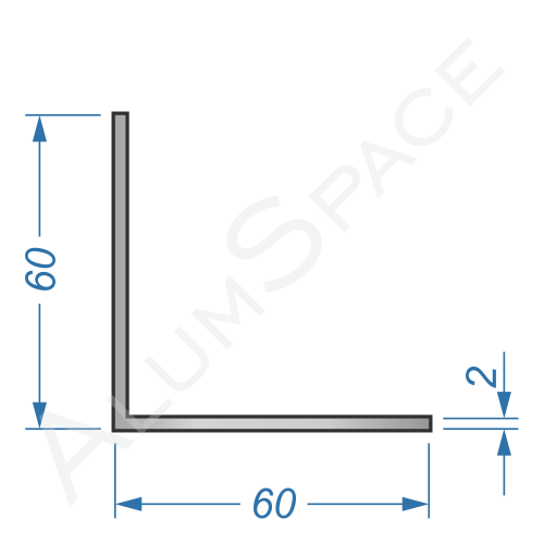 Алюминиевый уголок равносторонний 60х60х2