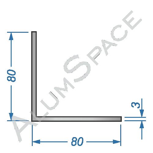 Алюминиевый уголок равносторонний 80х80х3
