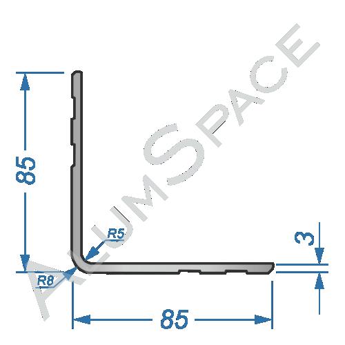 Алюминиевый уголок равносторонний 85х85х3