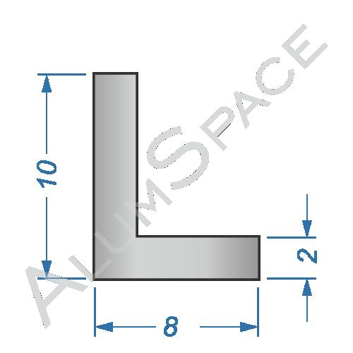 Алюминиевый уголок разносторонний 10х8х2
