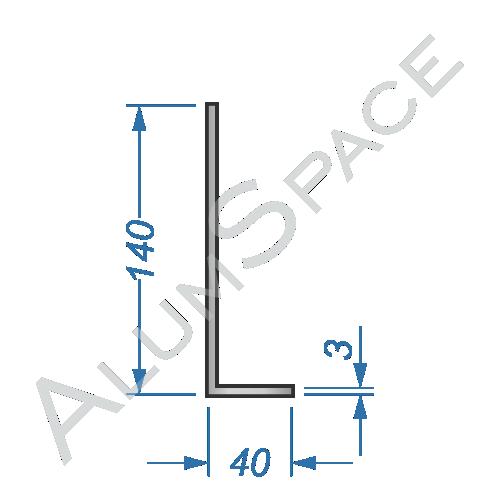 Алюминиевый уголок разносторонний 140х40х3