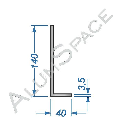 Алюминиевый уголок разносторонний 140х40х3,5