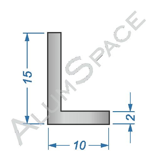 Алюминиевый уголок разносторонний 15х10х2