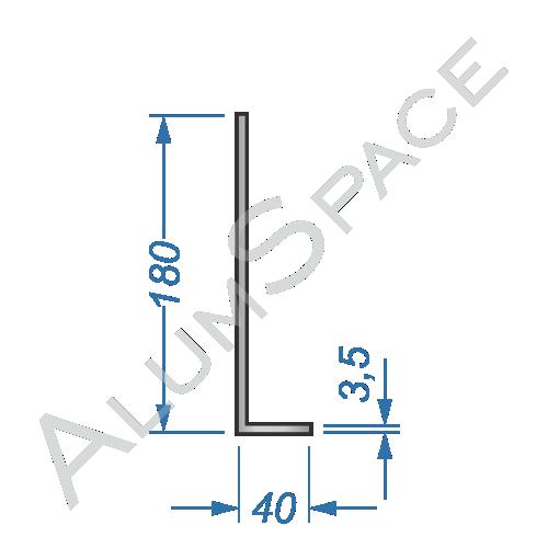 Алюминиевый уголок разносторонний 180х40х3,5