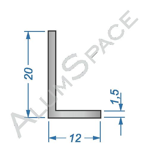 Алюминиевый уголок разносторонний 20х12х1,5 Анод