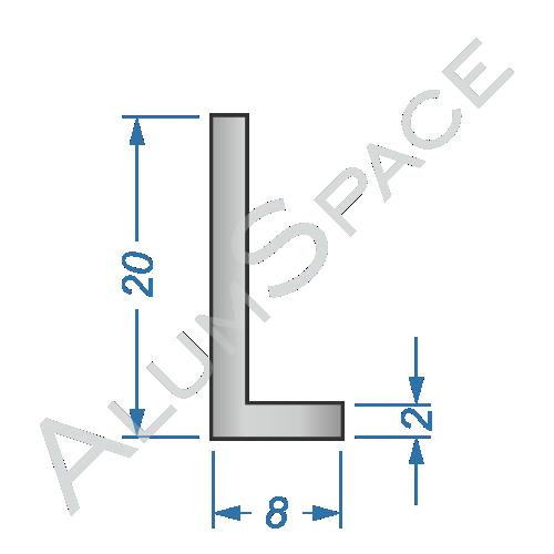 Алюминиевый уголок разносторонний 20х8х2 Анод