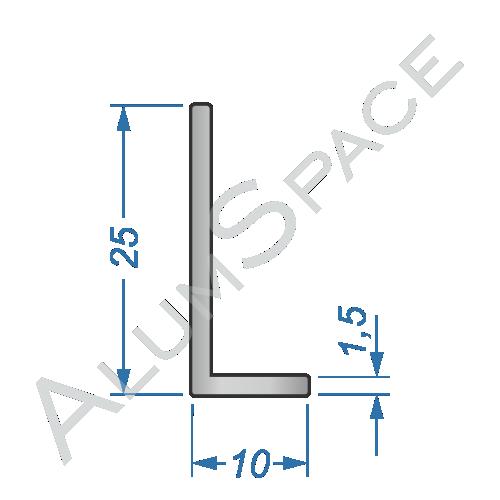 Алюминиевый уголок разносторонний 25х10х1,5 R2