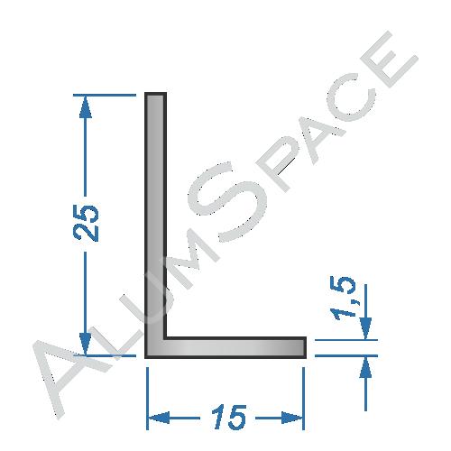 Алюминиевый уголок разносторонний 25х15х1,5 Анод