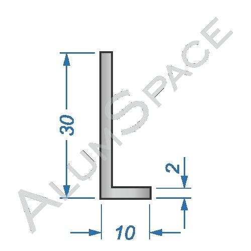 Алюминиевый уголок разносторонний 30х10х2