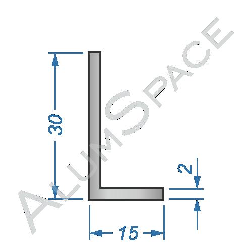 Алюминиевый уголок разносторонний 30х15х2 Анод
