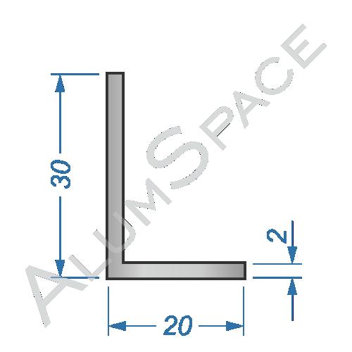 Алюминиевый уголок разносторонний 30х20х2