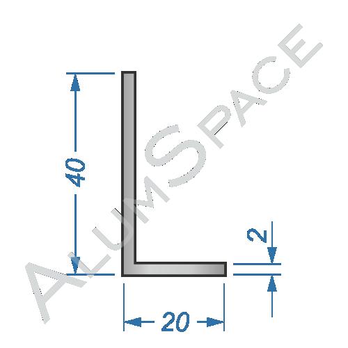 Алюминиевый уголок разносторонний 40х20х2