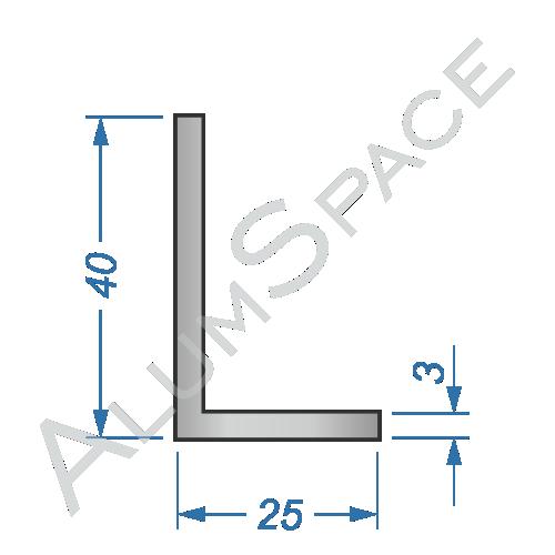 Алюминиевый уголок разносторонний 40х25х3
