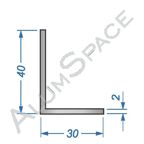 Алюминиевый уголок разносторонний 40х30х2