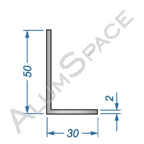 Алюминиевый уголок разносторонний 50х30х2