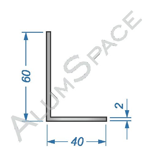 Алюминиевый уголок разносторонний 60х40х2
